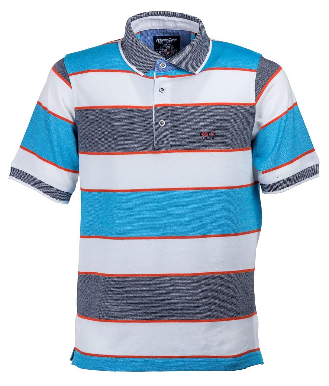 cc28bb5baa4 Obrázek E Pruhované polo triko   polokošile modrá   oranžová Mode Monte  Carlo ...