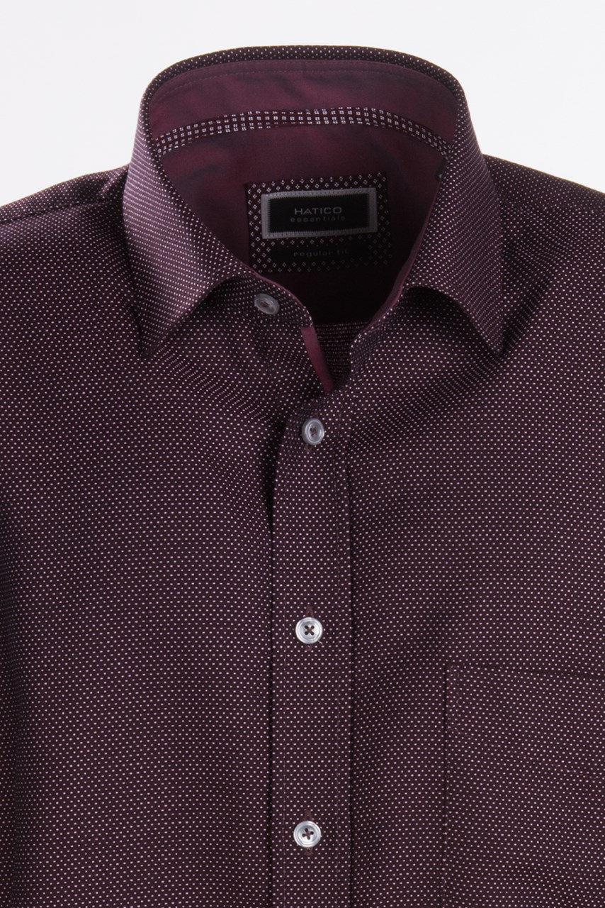 W M EGO. Tmavě červená   vínová pánská košile s jemným vzorem HATICO ... feacca985f