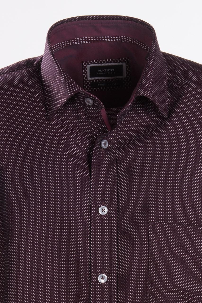 7067087ae2a W M EGO. Tmavě červená   vínová pánská košile s jemným vzorem HATICO ...