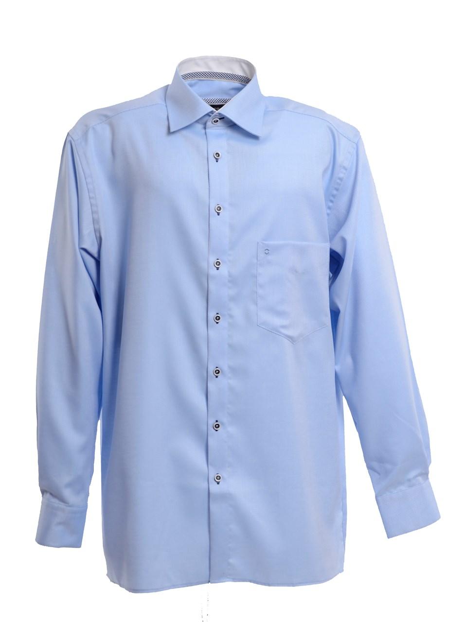 951c0200084 W M EGO. Světle modrá pánská košile s jemným vzorem HATICO