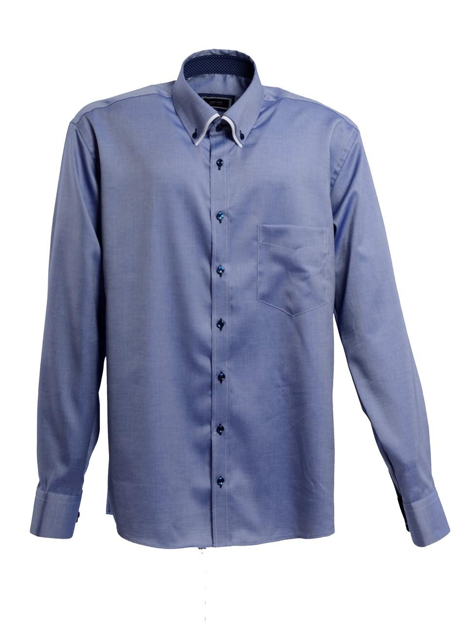 W M EGO. Modrá pánská košile s jemným vzorem HATICO f1dba1edb6