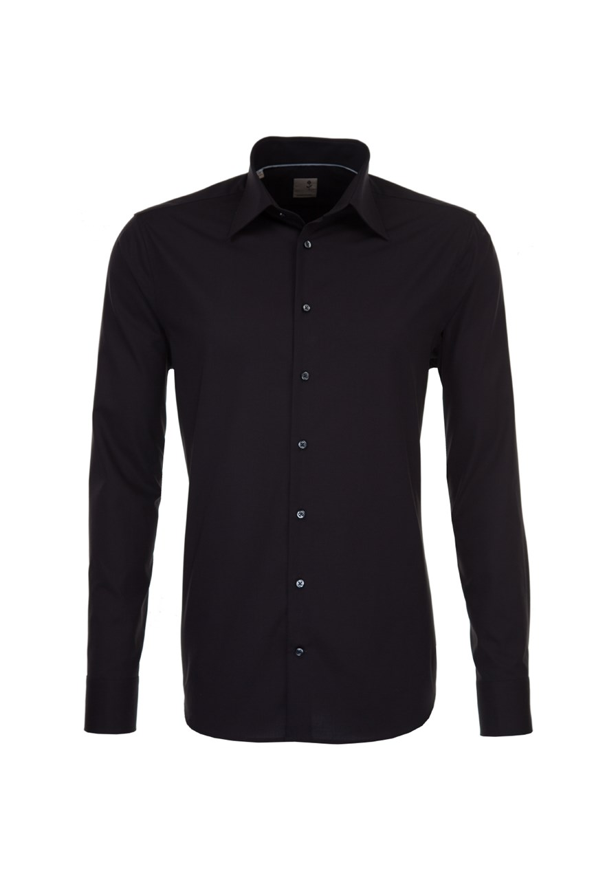 W M EGO. Černá pánská košile SEIDENSTICKER 10ee692ca7