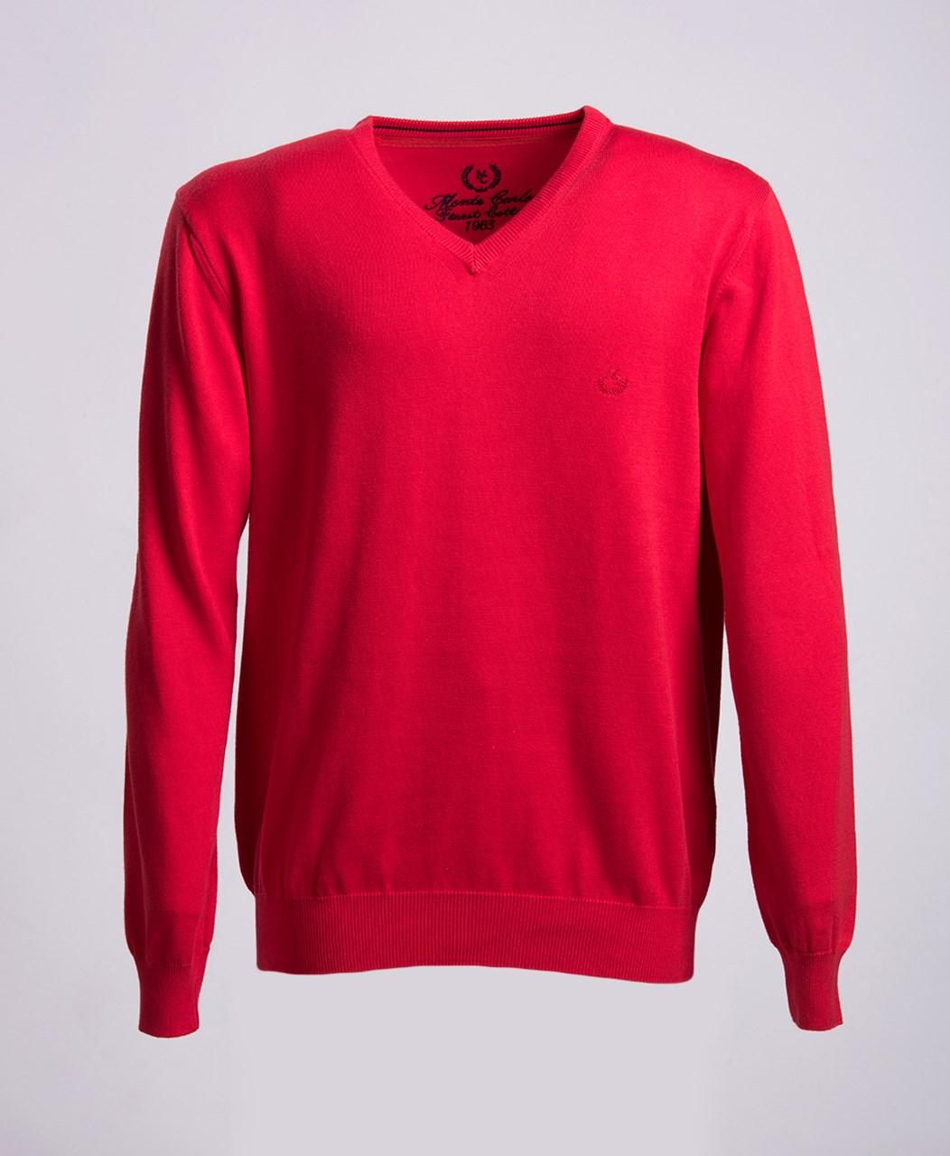 48837b1a7b9 Obrázek Červený bavlněný svetr s výstřihem do V Mode Monte Carlo ...