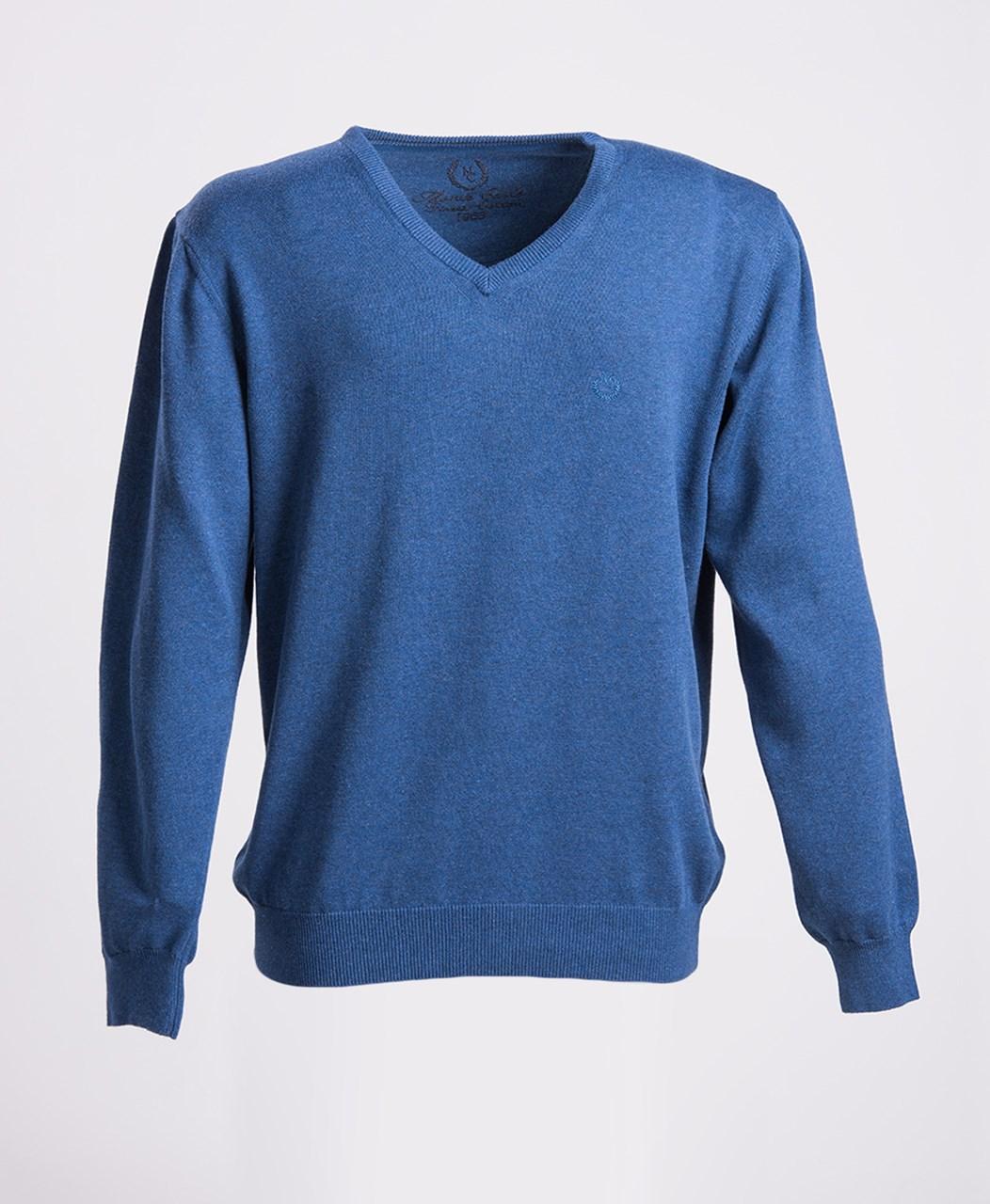 500c78b6833 Obrázek Modrý bavlněný svetr s výstřihem do V Mode Monte Carlo ...