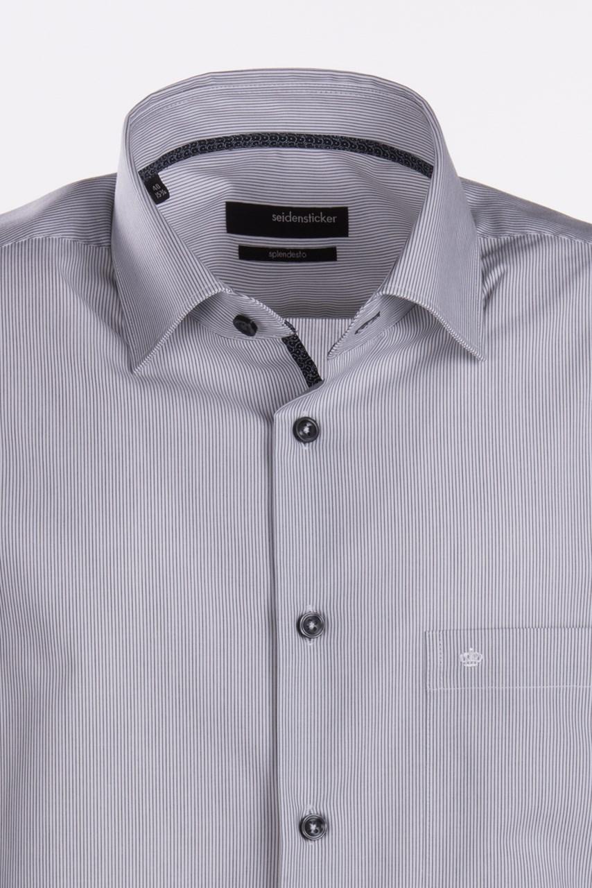W M EGO. Bílá pánská košile s černým vlasovým proužkem SEIDENSTICKER ... d82f51cc66