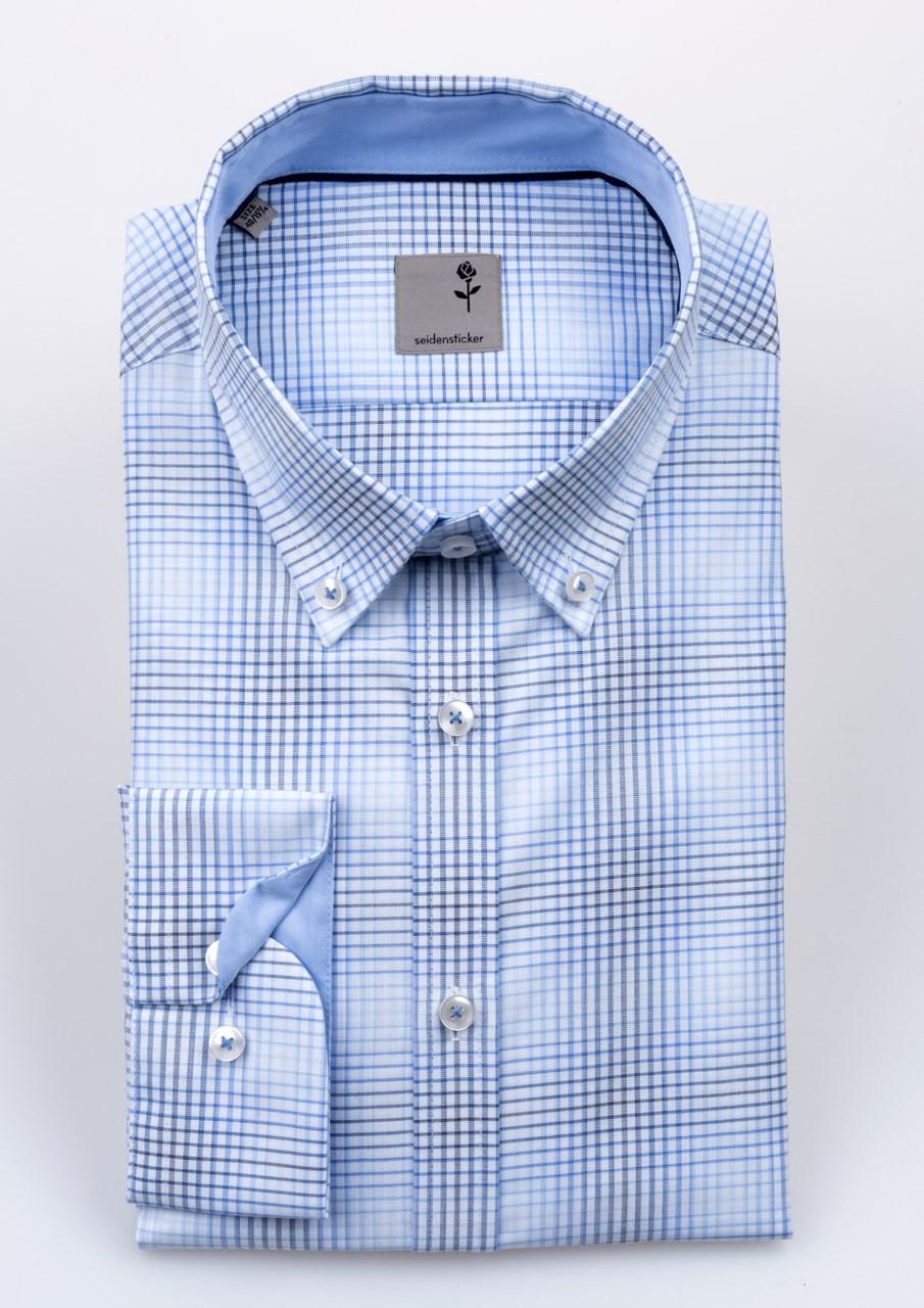 Obrázek Bílo světle a tmavě modrá pánská košile se vzorem káro SEIDENSTICKER 0209768e09