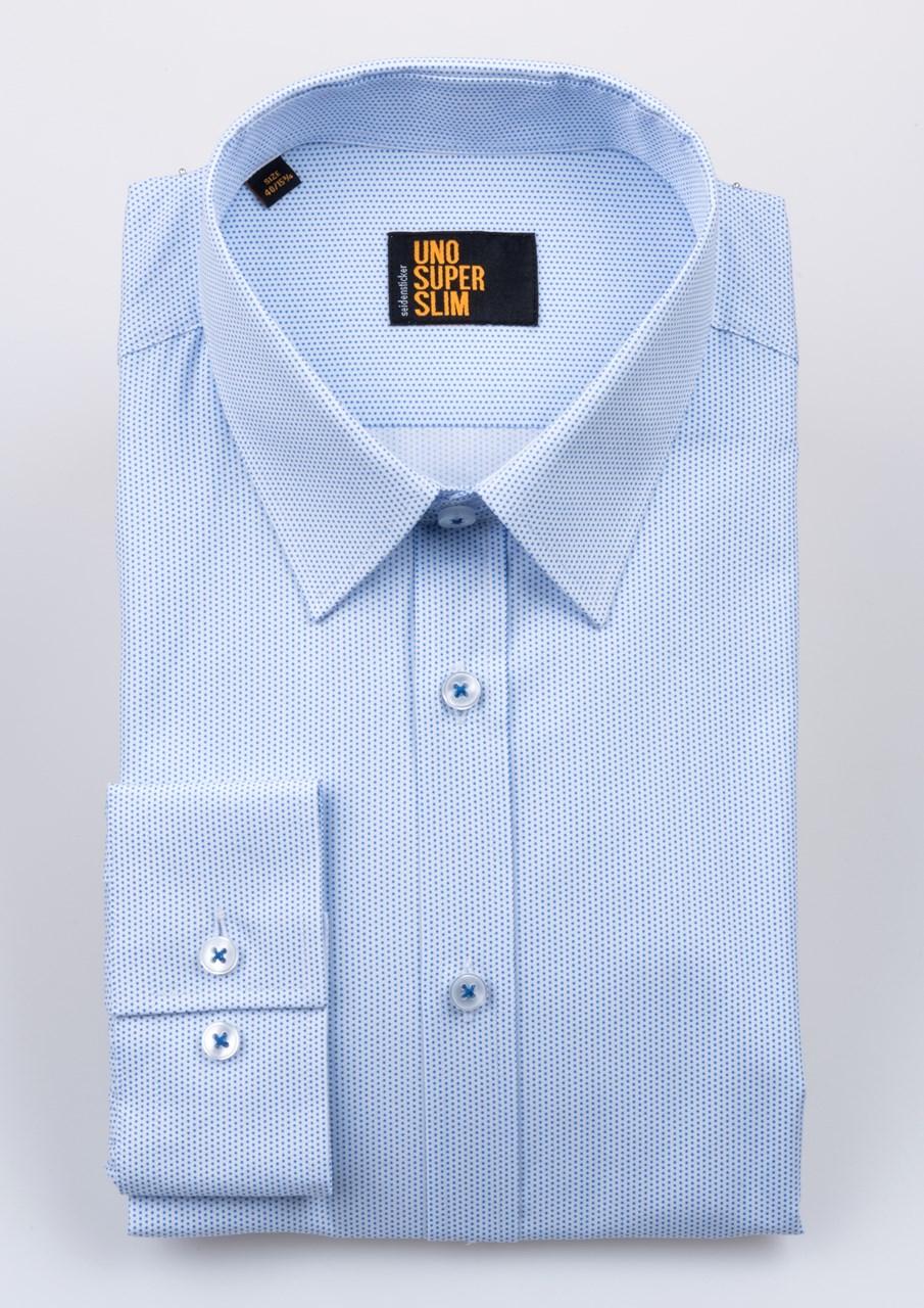 7a2b5c3556c W M EGO. Bílá pánská košile s drobným modrým puntíkem SEIDENSTICKER ...