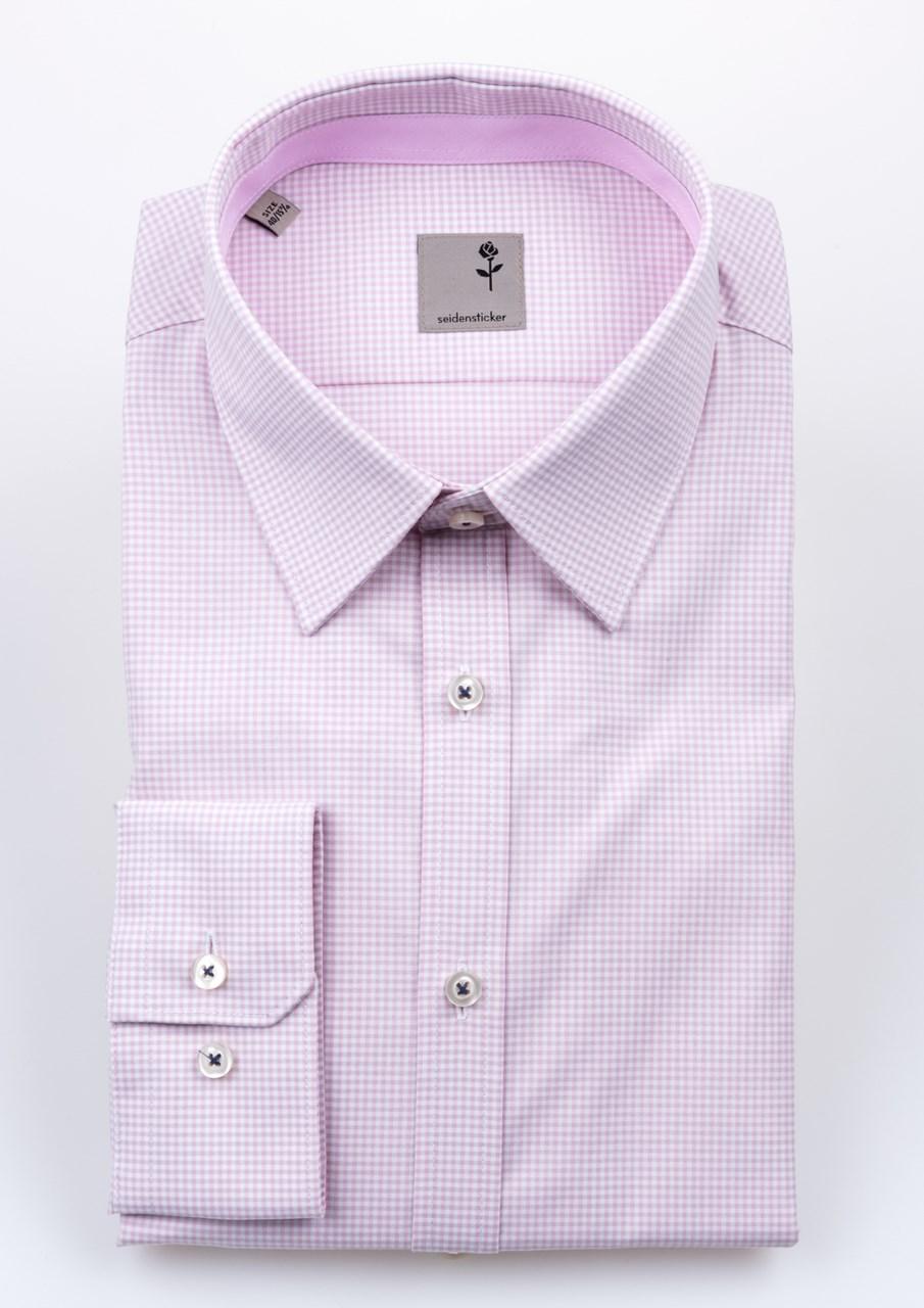 Obrázek Bílo růžová pánská košile s jemným vzorem káro SEIDENSTICKER 367121961e