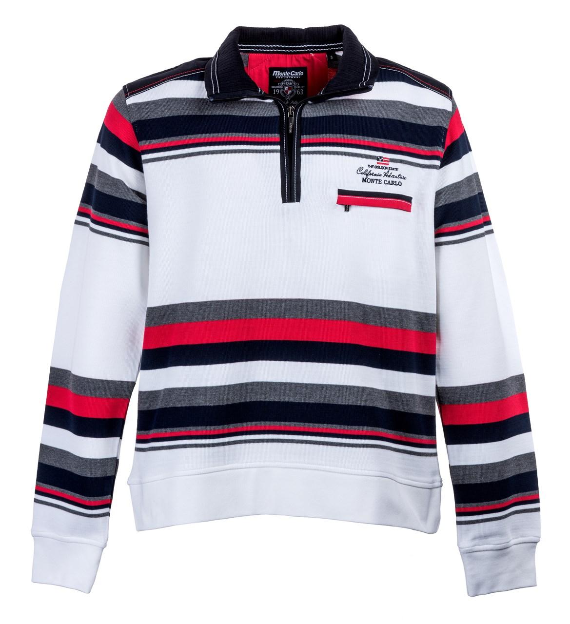 3576f52677d Mode Monte Carlo. Obrázek E Bílá šedá červená modrá mikina s pruhy