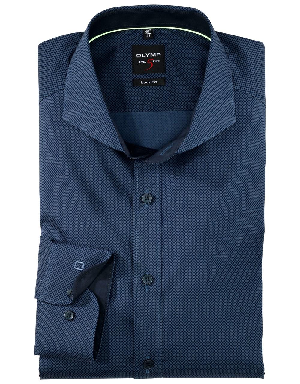 W M EGO. Olymp košile tmavě modrá se vzorkem bc12f4b49e